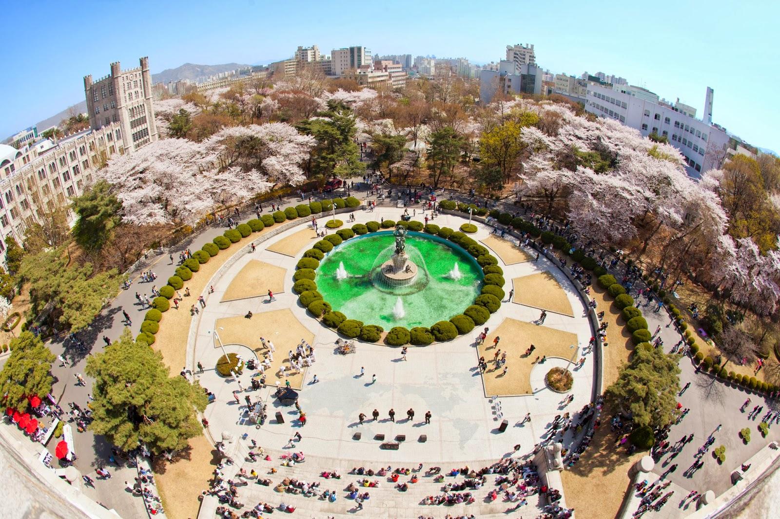 Khuôn viên rộng lớn và hoành tráng đh Kyung hee