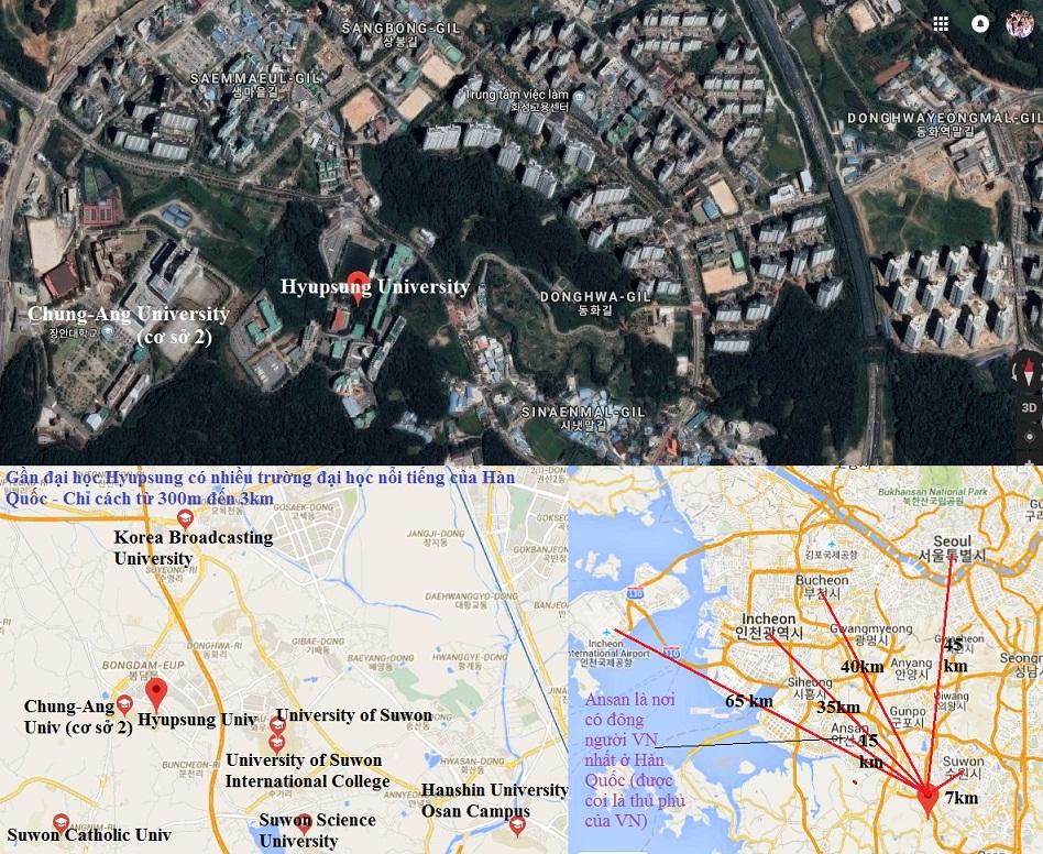 Ảnh vệ tinh và bản đồ trường Hyupsung