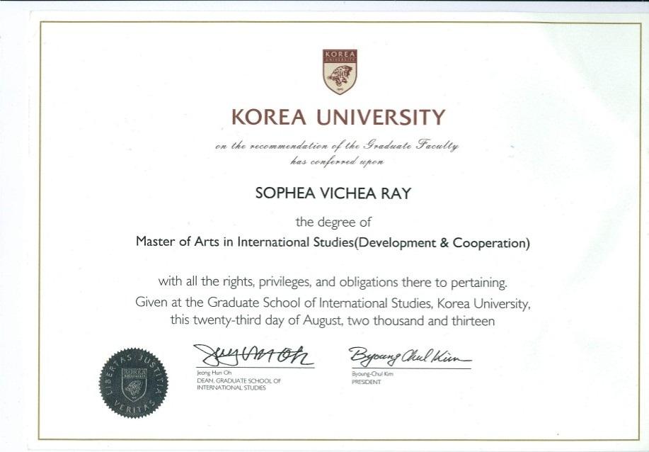 Bằng của trường Korea University cấp