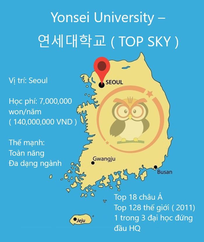 bản đồ đại học Yonsei học phí, thế mạnh