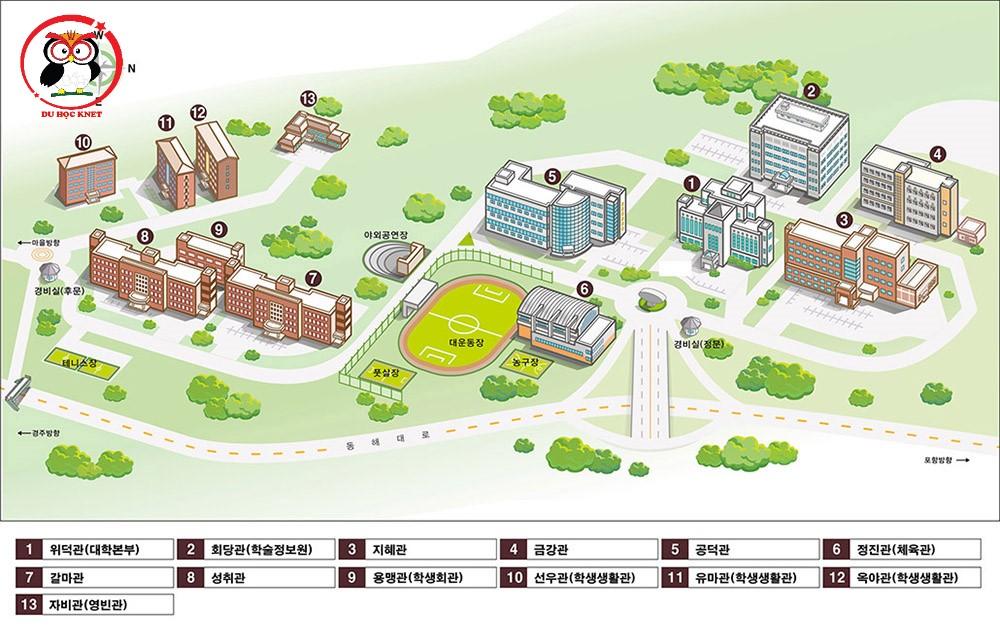 Hệ thống cơ sở hạ tầng của trường đại học Uiduk