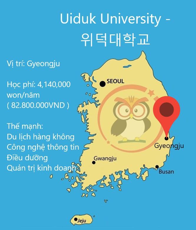 bản đồ Uiduk University: Vị trí, học phí, thế mạnh