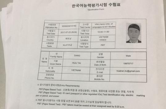 Form đăng ký dự thi tiếng Hàn Klat