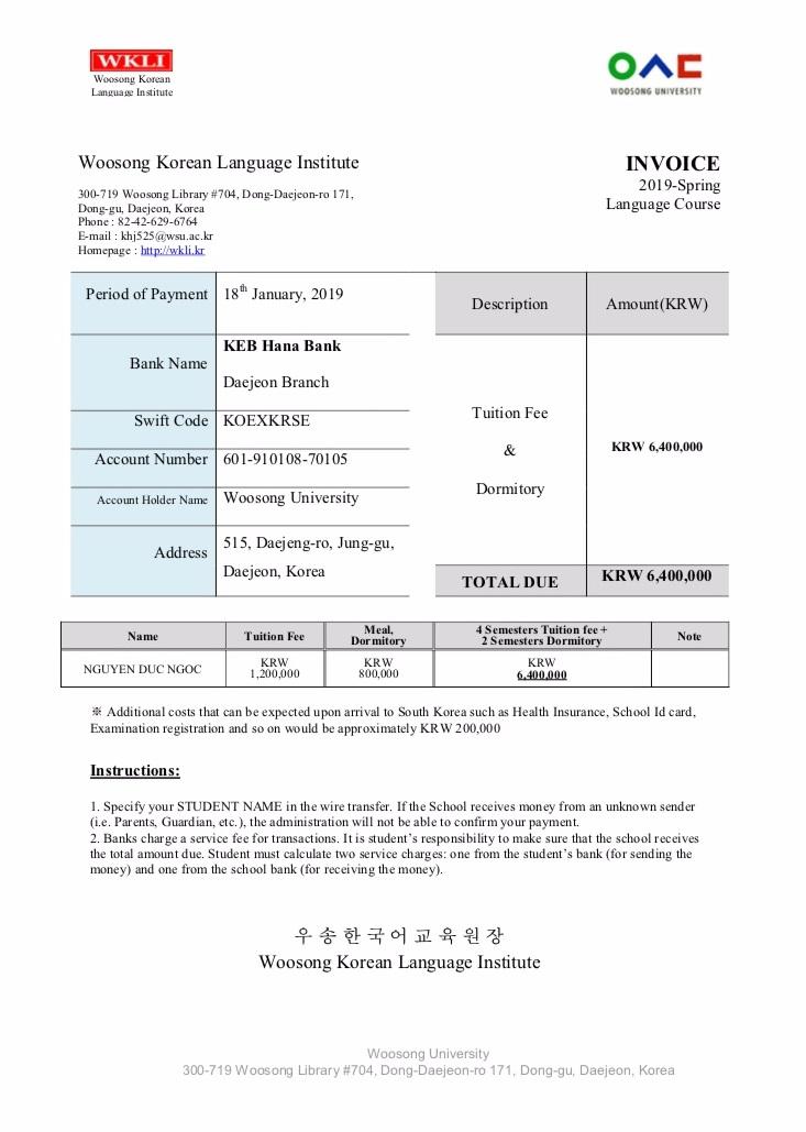 Invoice của trường đại học Woosong