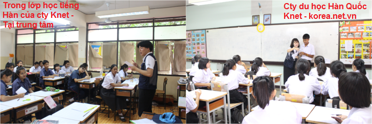 Trong lớp dạy tiếng tại trung tâm dạy tiếng Hàn ở Hà Nội