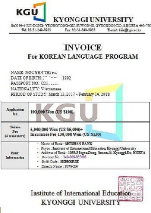 Học phí đại học Kyonggi