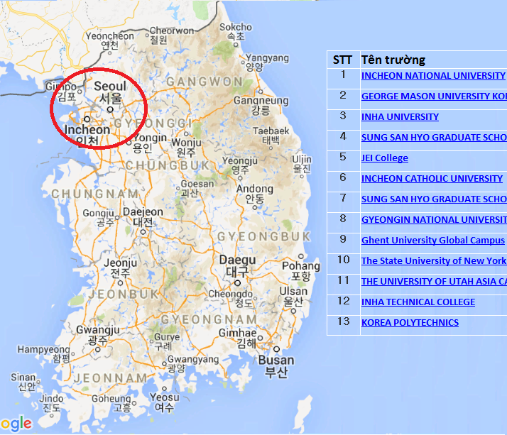 Các trường đại học ở Incheon