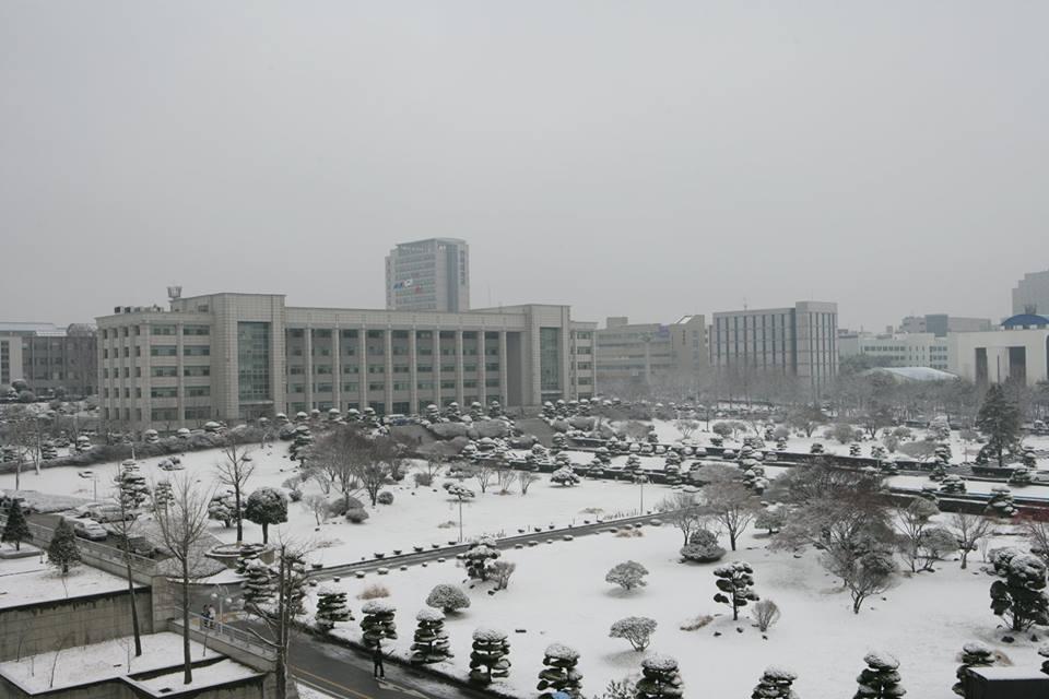 Mùa đông ở Hàn rất lạnh nhưng cũng rất đẹp và ở trường INHA cũng vậy