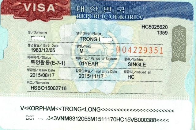 ảnh visa E-7 dành cho kỹ sư làm việc tại Hàn Quốc