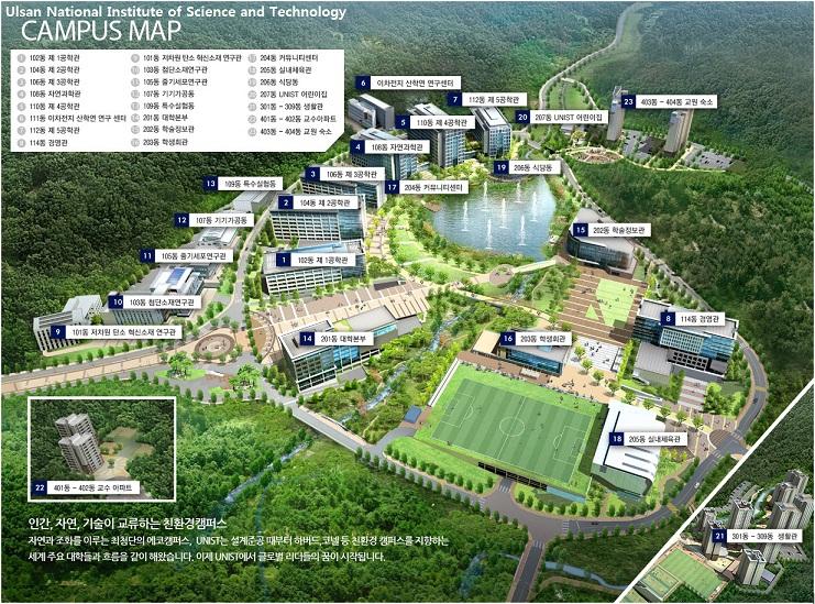 Tổng thể khuôn viên của Viện khoa học và công nghệ Ulsan