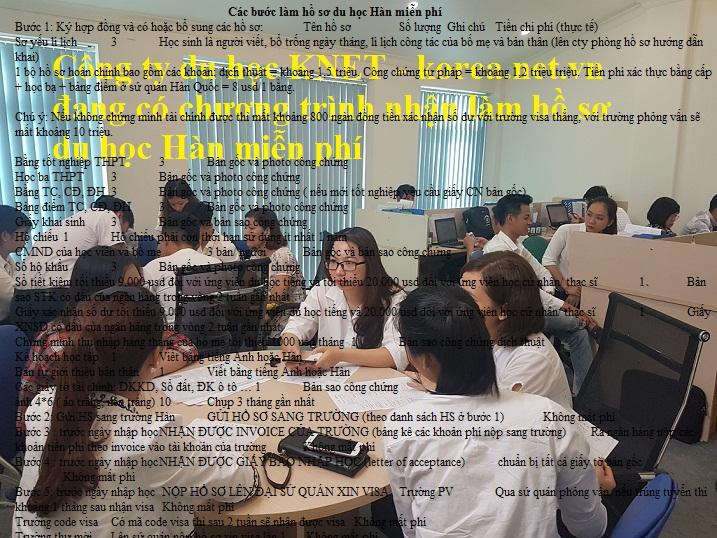 Phòng hồ sơ của công ty du học KNET nhận làm hồ sơ du học Hàn miễn phí