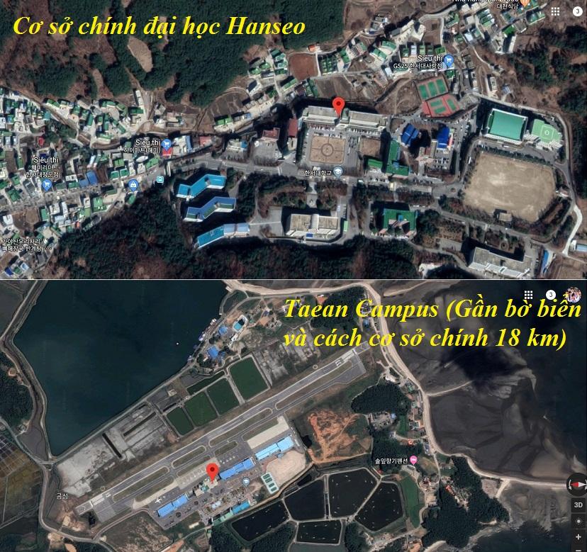 Ảnh vệ tinh 2 cơ sở của đại học Hanseo