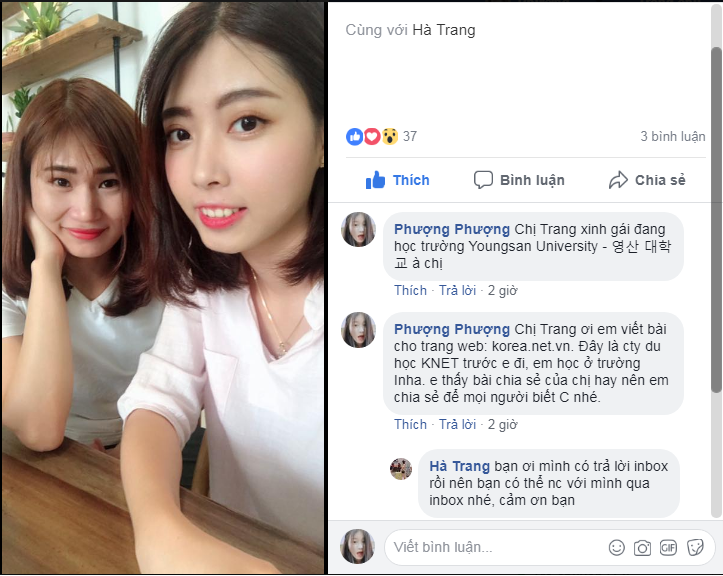 """Bạn Trang (phía trước) người chia sẻ bài viết: Du học sinh Hàn Quốc: """"Bị đuổi về nước"""" và sự trở lại sau 1 năm 6 tháng"""