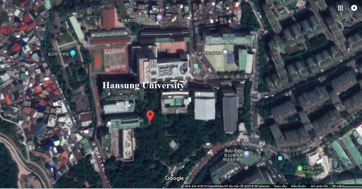 ảnh vệ tinh trường đại học Hansung - trường ở rất gần trung tâm Seoul