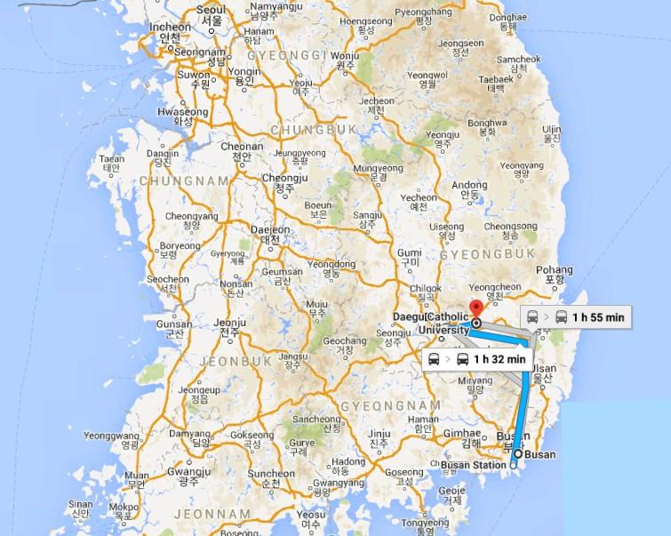 Vị trí của trường Catholic Daegu