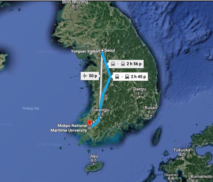 Ảnh vệ tinh Trường Đại học Quốc gia Hàng Hải Mokpo