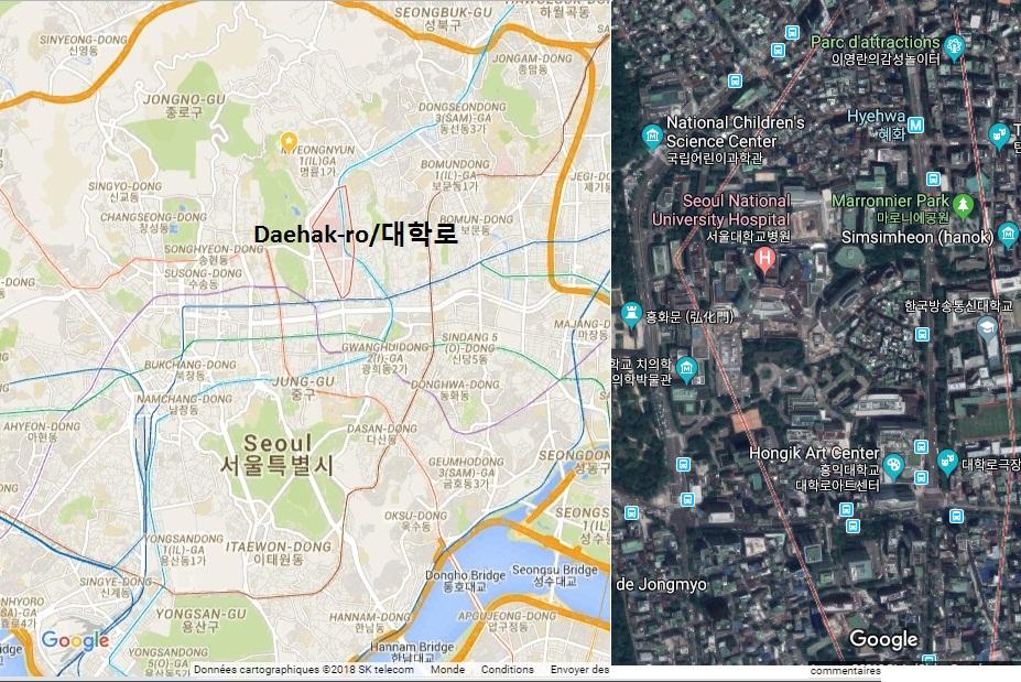 Vị trí trên bản đồ và ảnh về tinh khu vực đường Daehak-ro/대학로