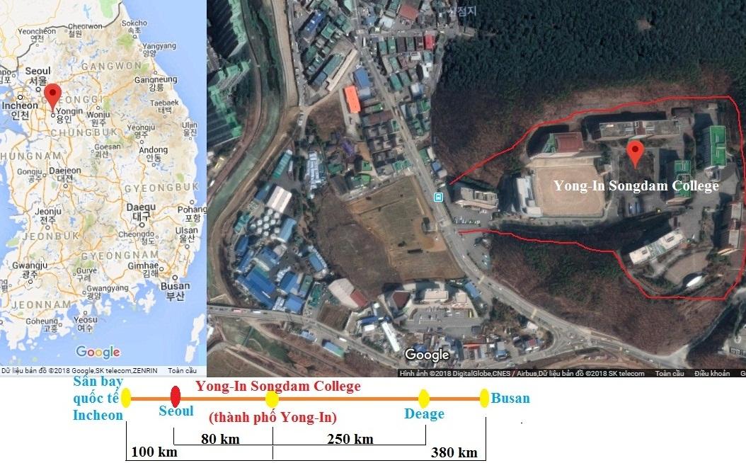 Bản đồ vị chí và ảnh vệ tinh trường cao đẳng Yong-In Songdam