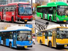 Xe buýt ở Hàn Quốc, cụ thể là ở Seoul được phân loại theo màu