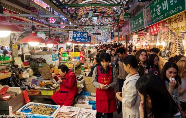 Buổi tối tại Chợ đêm Gwangjang