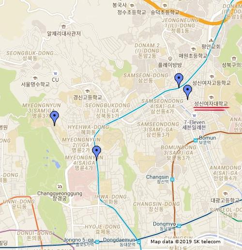 Vị trí Trường Đại học Nữ sinh Sungshin trên bản đồ khu vực (dấu gạch đỏ)