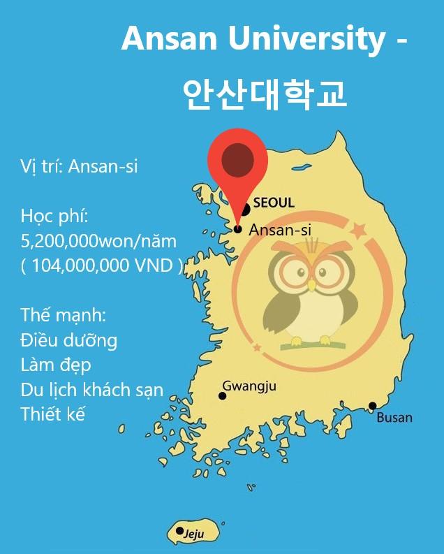 bản đồ Ansan University: học phí, thế mạnh