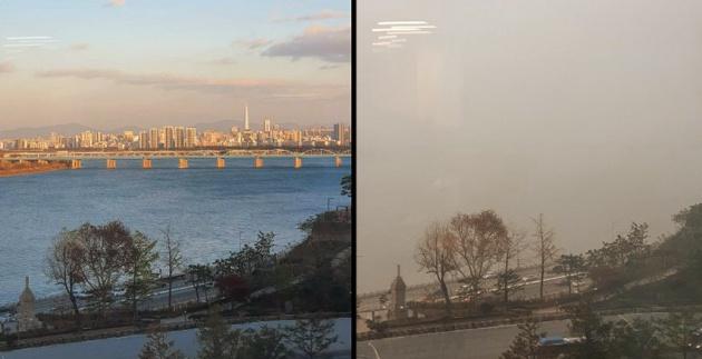 Hình ảnh ghi nhận tình trạng bụi mịn ở Hàn Quốc trong sáng ngày 11/12