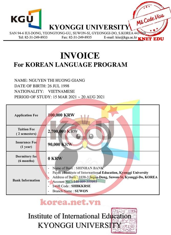 Invoice đại học Kyonggi