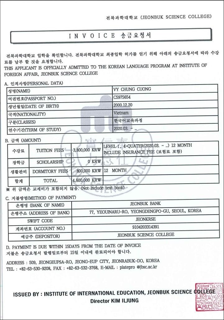 Invoice trường cao đẳng kho học Jeonbuk
