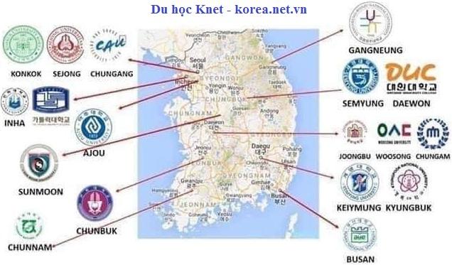 Vị trí của các trường đại học có các ngành học tốt ở Hàn Quốc