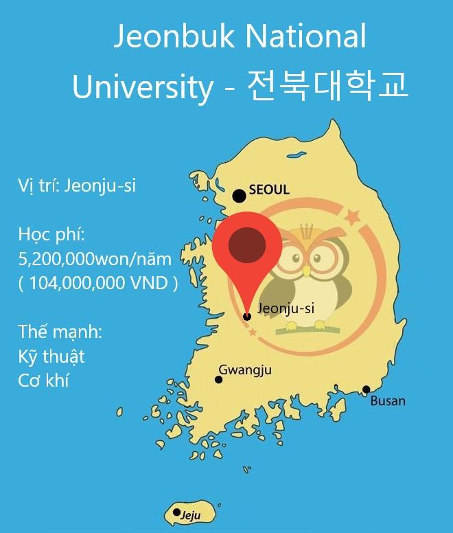 Bản đồ đại học Quốc gia Chonbuk: học phí, thế mạnh