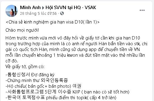 Kinh nghiệm của Minh Anh khi gia hạn visa D10