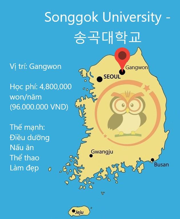 bản đồ, học phí, thế mạnh của đại học Songgok