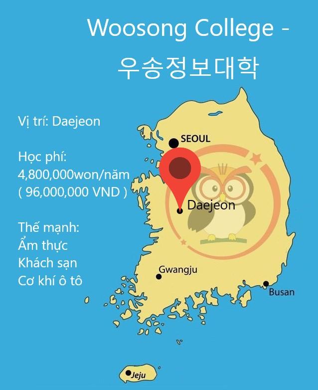 Bản đồ cao đẳng Woosong: học phí, thế mạnh