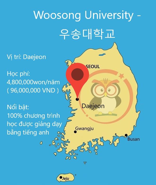 Bản đồ đại học Woosong: vị trí, học phí, thế mạnh