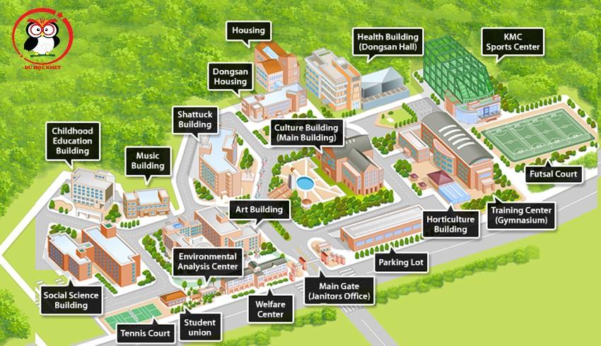 Cơ sở hạ tầng của Keimyung đầy đủ để phục vụ sinh viên học tập