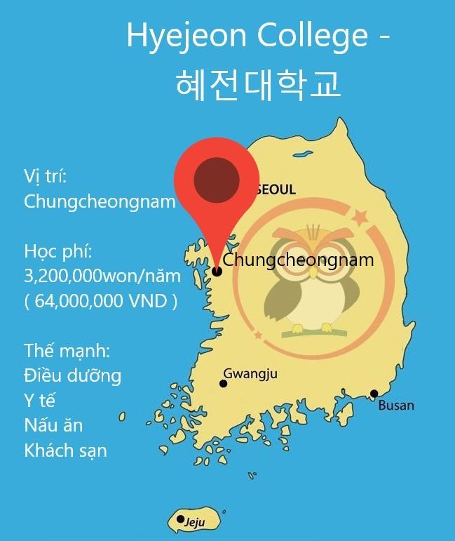Bản đồ Hyejeon College: Vị trí, học phí, thế mạnh